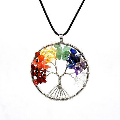 7 Chakra Tree Of Life Necklace Crystal Necklace Quartz Stones for Women Pendants