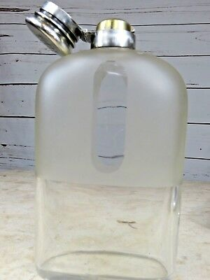 RARE GLASS ANTIQUE TIFFANY & CO STERLING SILVER FLASK 4.5 gills