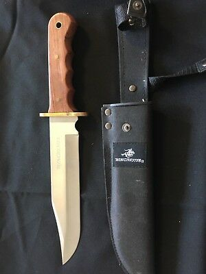 """Winchester 14"""" Large Bowie Stainless Fixed Blade Wood Handle Knife + Sheath"""