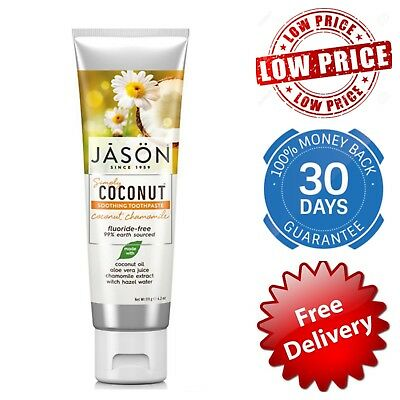 JASON Simply Coconut Soothing Toothpaste Chamomile No Fluoride Organic Natural