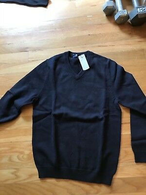 Nwt Brooks Brothers Boys Cotton V Neck Sweater, Navy, Medium