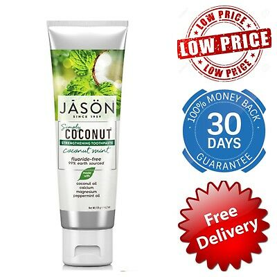JASON Simply Coconut Strengthening Toothpaste Mint No Fluoride Organic Natural