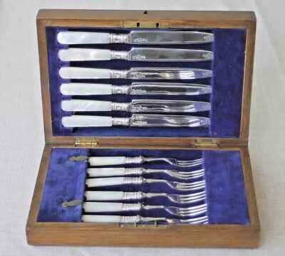 Antique silver plated fruit knives & forks mother of pearl handles boxed 6 each