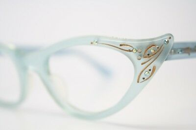 Baby Blue Rhinestone Vintage Cat Eye Glasses Unused 1960s New Old Stock  Frames