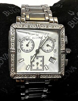 Bulova Women's 96R000 Quartz Diamond Accents Chronograph 30mm Bracelet Watch