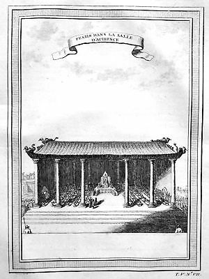 1750 Tempel temple Festessen feast China Ansicht view Kupferstich antique print