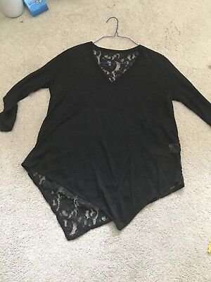 New! Nordstrom Black Solid Front/Lace Back $15 100% Linen Asymmetrical Sz Large