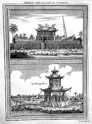 1750 Tai'an Dai Miao China Tempel temple Ansicht view Kupferstich antique print