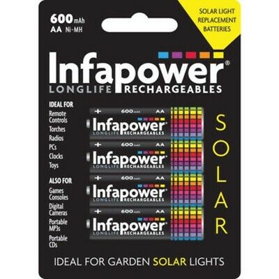 Infapower AA Rechargeable Solar Light Batteries Ni-MH 1.2v 600mAh B008 Pack of 4