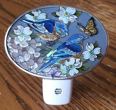 "AMIA hand painted night light, bluebirds in white floral, butterfly, 3"" x 4 1/2"""