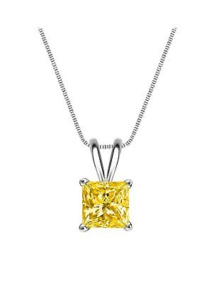 "1 Ct Princess Cut Canary Solid 14k Yellow Gold Solitaire Pendant 18/"" Necklace"