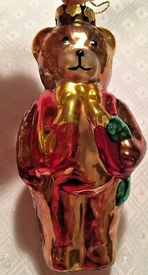 Neiman Marcus Blown Glass Dark Brown Teddy Bear with Red Vest & Gold Bow