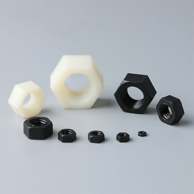 Black / White Plastic Nylon Hexagon Nuts Hex Nut M2,M2.5,M3,M4,M5,M6,M8,M10,M12