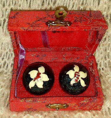 Vintage Lotus Chinese Stress Relief BaoDing Cloisonne Balls Chimes Red Silk Box