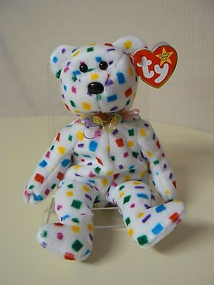 Ty Beanie Baby TY 2K Plush White Bear with Primary Color Squares Original