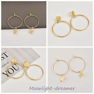 1Pair Simple Large Circle Star Hoop Earring Women Dangle Chic Jewelry Gifts