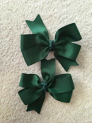 Madelienas   Bottle Green (forest Green) Colour  Bow Hair Clips . A pair