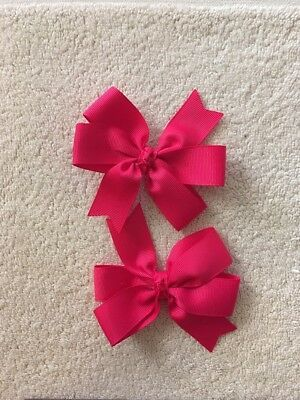 Madelienas  Shocking Hot Pink Colour  Bow Hair Clips . A pair