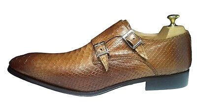 6f58843be028 Chaussure Italienne Luxe Homme Neuf Cuir Façon Anaconda Marron Clair 2  Boucles