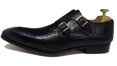 61ee9bee4135 Chaussure Italienne Luxe Homme Neuf Cuir Façon Anaconda Noir Double Boucles