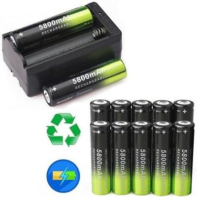 USA 10X SKYWOLFEYE Rechargeable 5800mAh Li-ion 18650 3.7V Battery Smart Charger