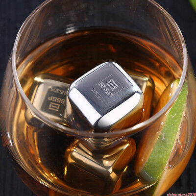 4/8X Stainless Metal Ice Cubes Whiskey Stones Beverage Cooler Drink Chiller RM6