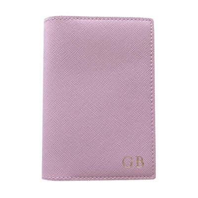 PERSONALISED MONOGRAM Womens Vegan Leather Passport Holder Travel Wallet Pink