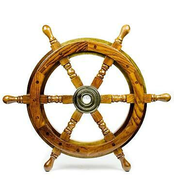 """16"""" Natural Wood  Nautical Handcrafted Wooden Ship Wheel - Home Wall Decor"""