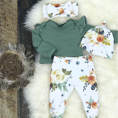 AU Newborn Baby Girl Floral Clothes Jumpsuit Romper Bodysuit Pants Outfits 0-24M