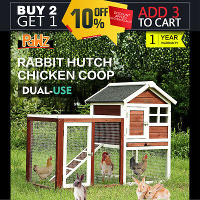 PaWz Chicken Coop Rabbit Hutch Large Hen House Wooden Animal Pet Cage with Run
