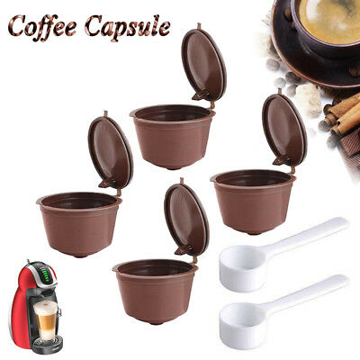 4x Refillable Reusable Coffee Capsules Pods For Nespresso Machines Spoon AU SHIP