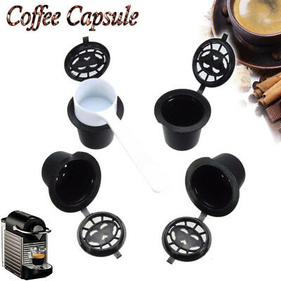 4x Refillable Reusable Coffee Capsules Pods For Nespresso Machines Spoon P7M7