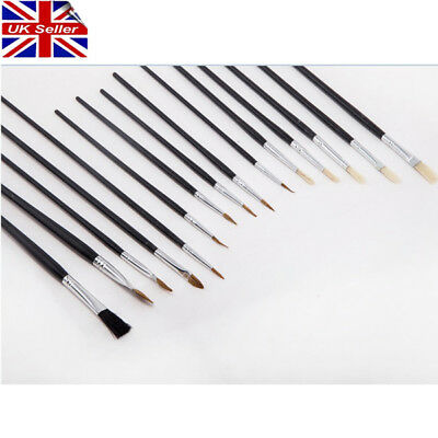 New 15 Pc Artists Paint Brush Set Fine Hobbies Crafts Model Making Brushes Kit