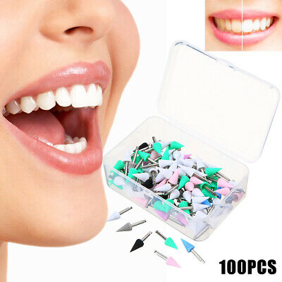 100pcs Dental Rubber Tapered Polishing Brush Prophy Polisher Cup Burs Points