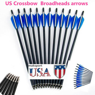 "US 12/24/48PCS 20"" Carbon arrow Archery Crossbow Hunting Arrows Broadhead shoot"