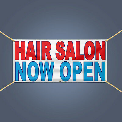 HAIR SALON NOW OPEN Banner, Business Shop Retail Advertising Vinyl Sign, 4' X 2'