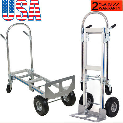 【USA】2in1 T5 Aluminum Hand Truck 770LBS Convertible Foldable Dolly 4*Wheel Cart