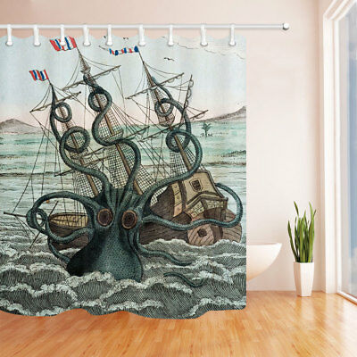 Octopus Sea Monster Shower Curtain Bathroom With 12 Hooks 6971 Inches