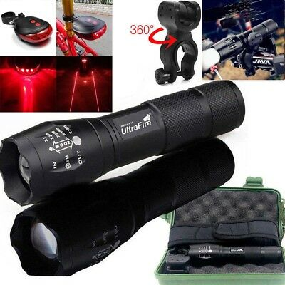 Tactical Ultrafire 50000Lumens T6 LED Zoomable 18650 Flashlight Torch Lamp UK