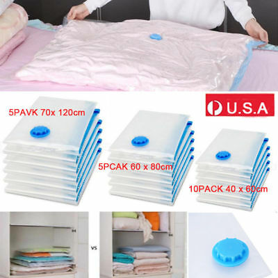 20Pcs Vacuum Storage Bags Seal Space Saver Hoover Compression Clothes Air Sack