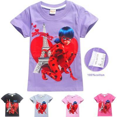 Miraculous Ladybug Girls T-Shirt Size 104/116/128/140/150 Tops NEW WITH LABEL