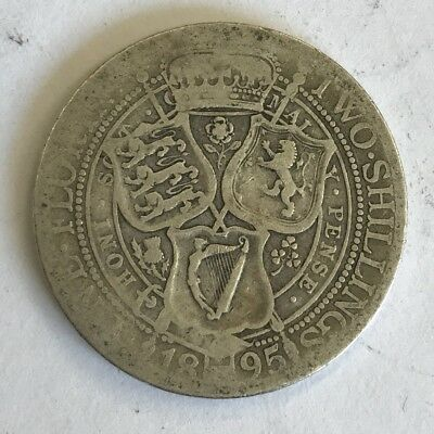 Antique 1895 Victoria Victorian Old Head Silver Two Shilling Florin Coin