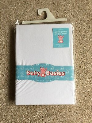 1x Jersey Fitted Sheet 100% Cotton Cot Bed 70x140cm White