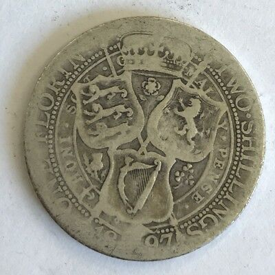 Antique 1897 Victoria Victorian Old Head Silver Two Shilling Florin Coin