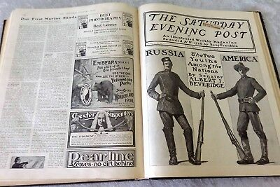 Antique 1900 Saturday Evening Post 25 bound issue lot etching ads Victorian news