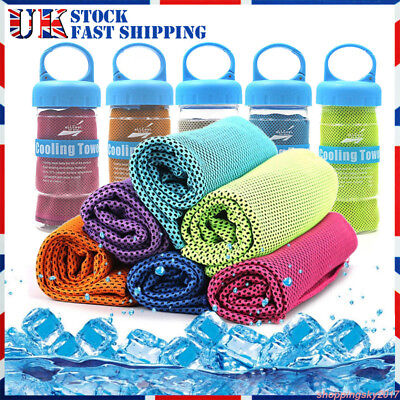 Ice Cold Instant Cooling Towel For Running Jogging Gym Chilly Pad Sports Yoga UK