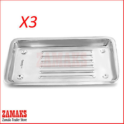 Set Of 3 Zamaks Dental Surgical Instruments Scaler Tray Lab Dentist Tools New