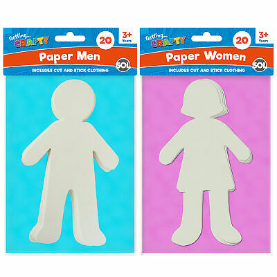 40 Paper People Cut Outs for Kids Arts and Crafts 20 Boy 20 Girl Cut Out Clothes