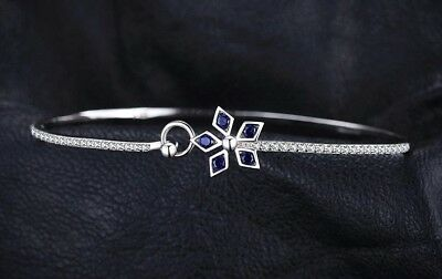 Sterling Silver 1.1ct Blue Spinel Flower  Bracelet Ball Bangle Simulated Diamond