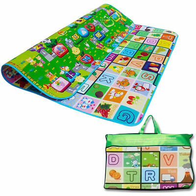 Crawling Kids Educational 2 Side Soft Foam Play Mat Picnic Carpet Toy 200X180cm